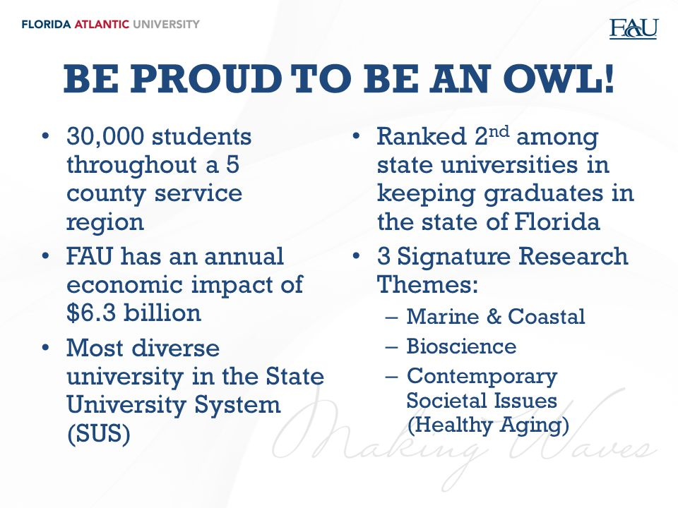 BE PROUD TO BE AN OWL! 30,000 students throughout a 5 county service region. FAU has an annual economic impact of $6.3 billion.