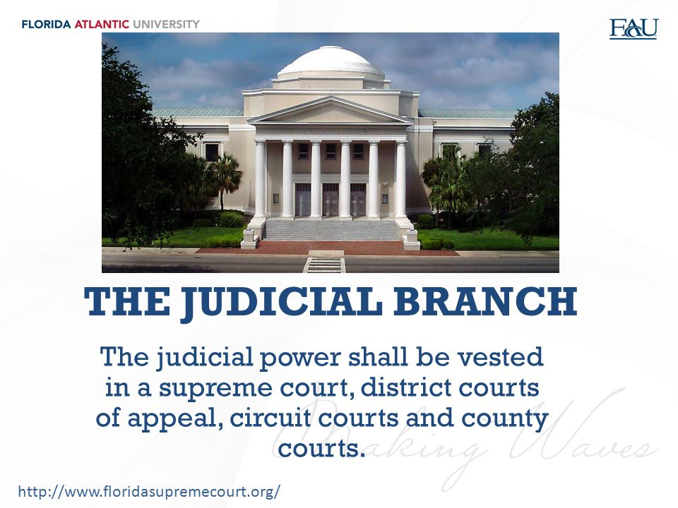 THE JUDICIAL BRANCH The judicial power shall be vested in a supreme court, district courts of appeal, circuit courts and county courts.