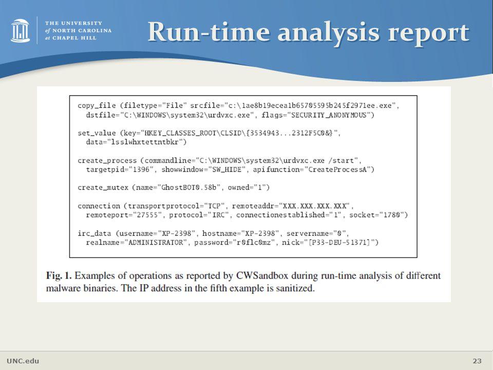 Run-time analysis report