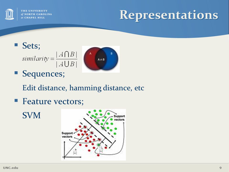 Representations Sets; Sequences; Edit distance, hamming distance, etc