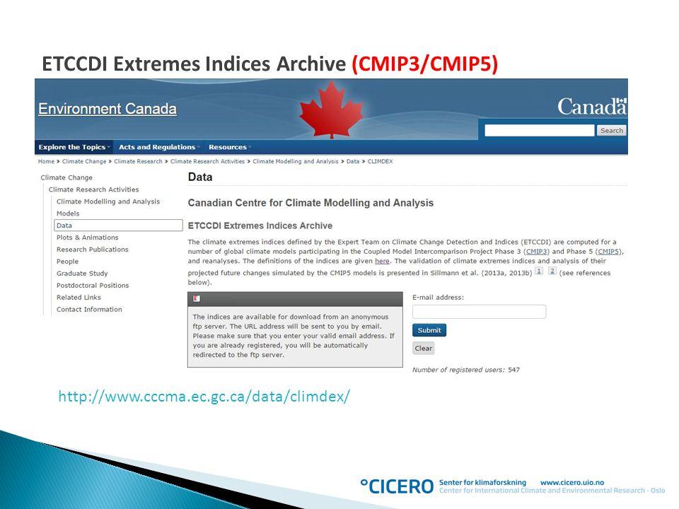 ETCCDI Extremes Indices Archive (CMIP3/CMIP5)