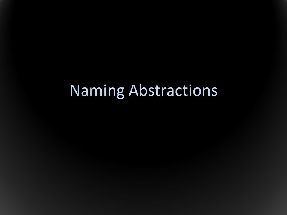 Naming Abstractions