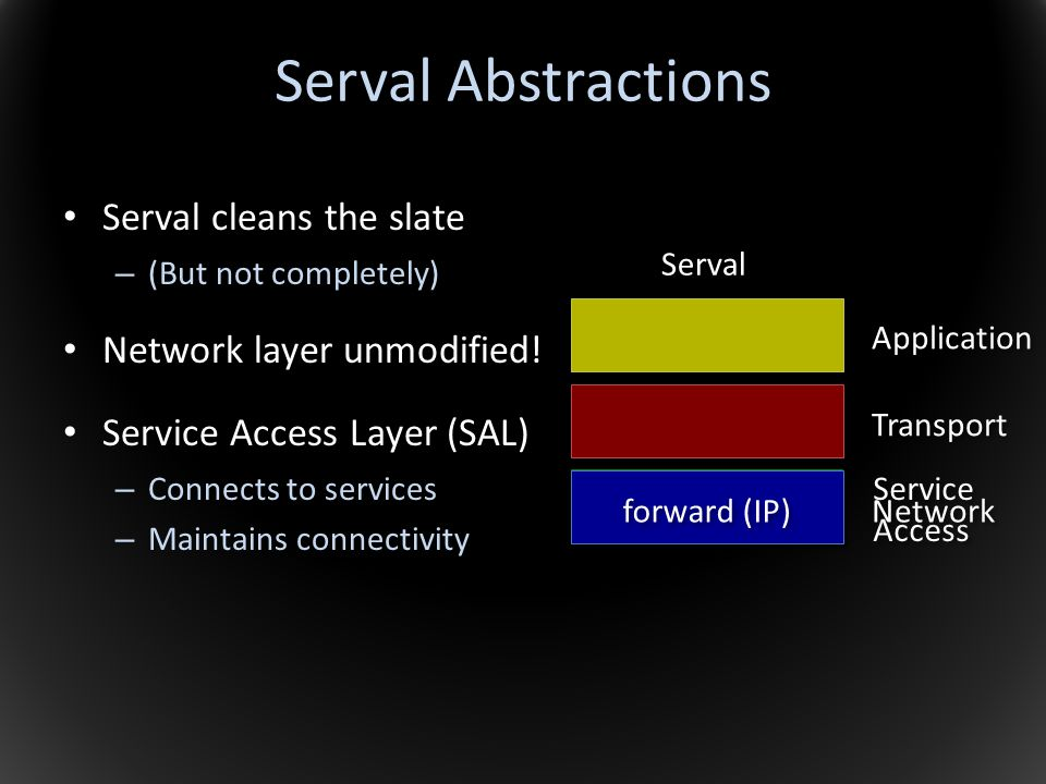 Serval Abstractions Serval cleans the slate Network layer unmodified!