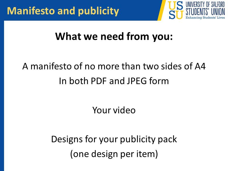 Manifesto and publicity