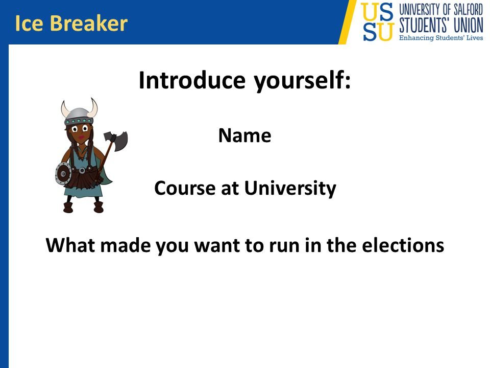 Introduce yourself: Name Course at University