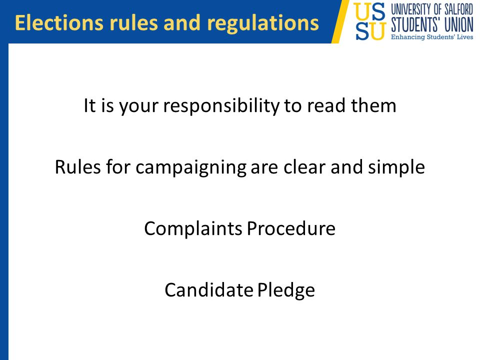 Elections rules and regulations