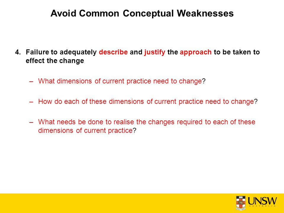Avoid Common Conceptual Weaknesses
