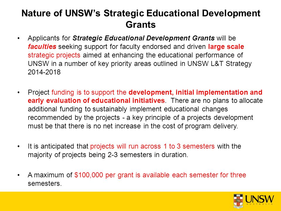 Nature of UNSW's Strategic Educational Development Grants