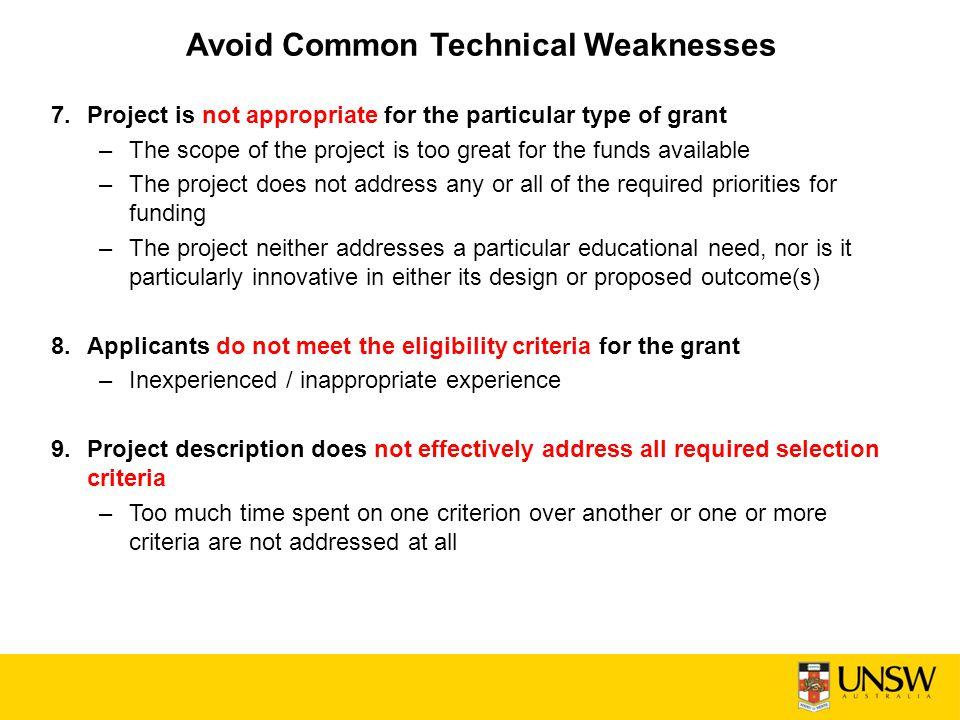 Avoid Common Technical Weaknesses