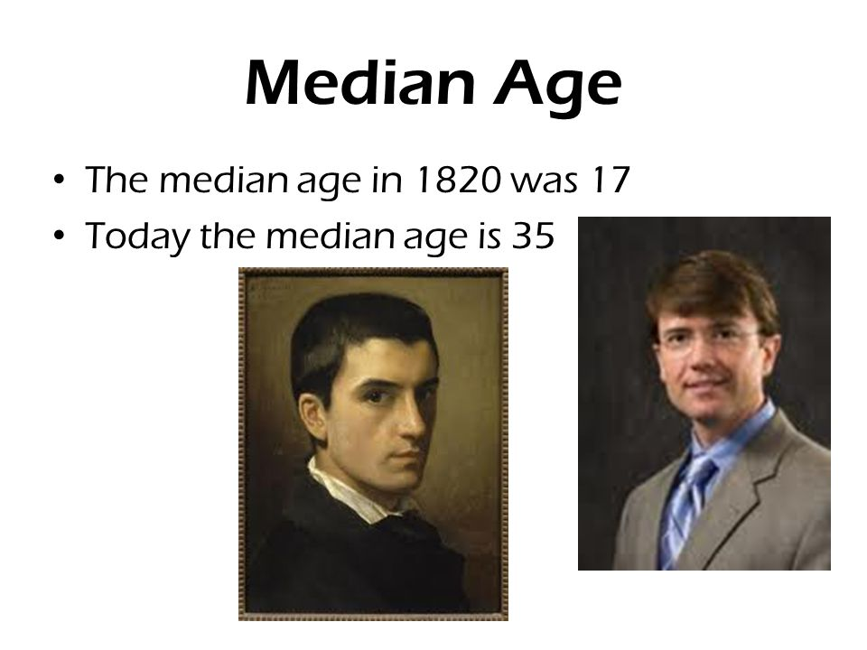 Median Age The median age in 1820 was 17 Today the median age is 35