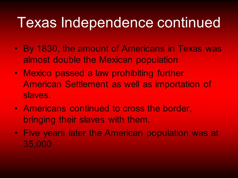 Texas Independence continued