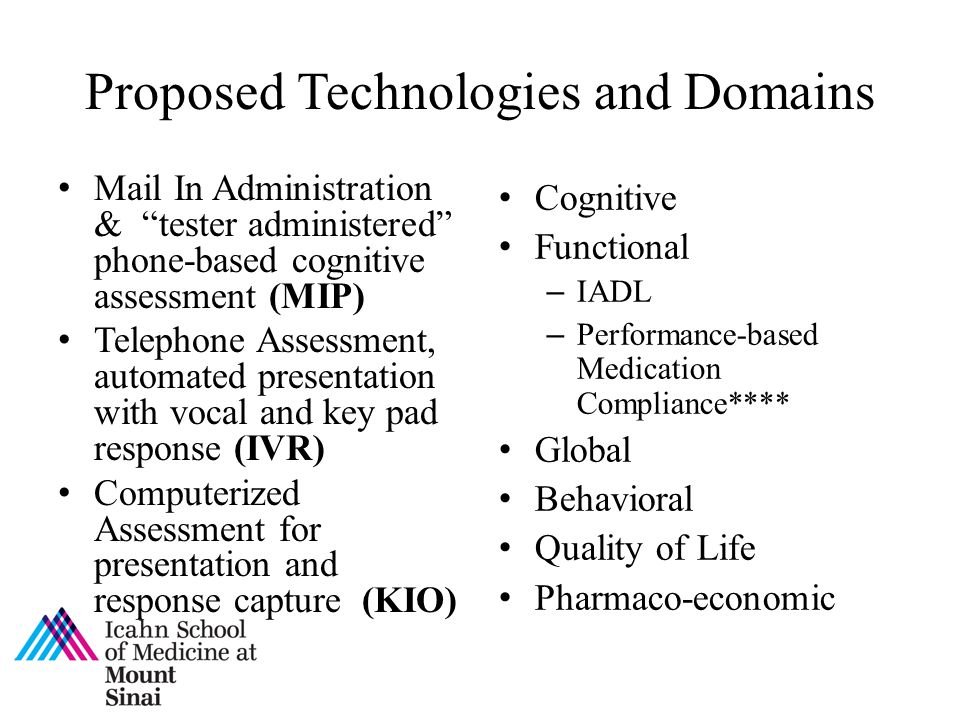 Proposed Technologies and Domains