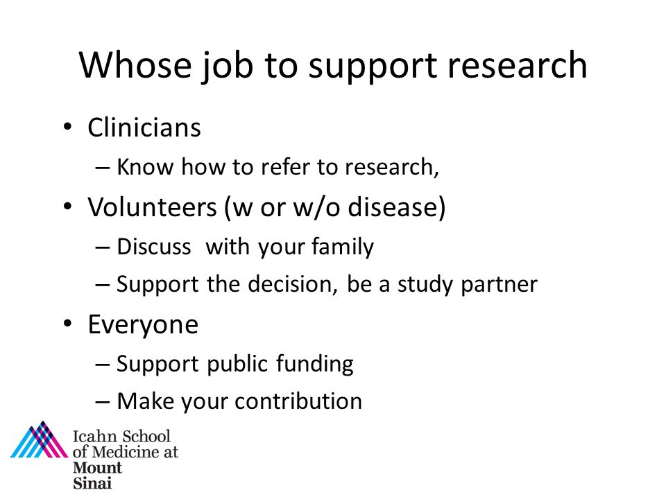 Whose job to support research