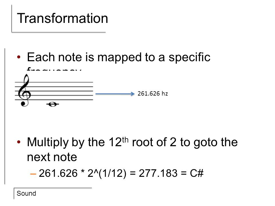 Transformation Each note is mapped to a specific frequency