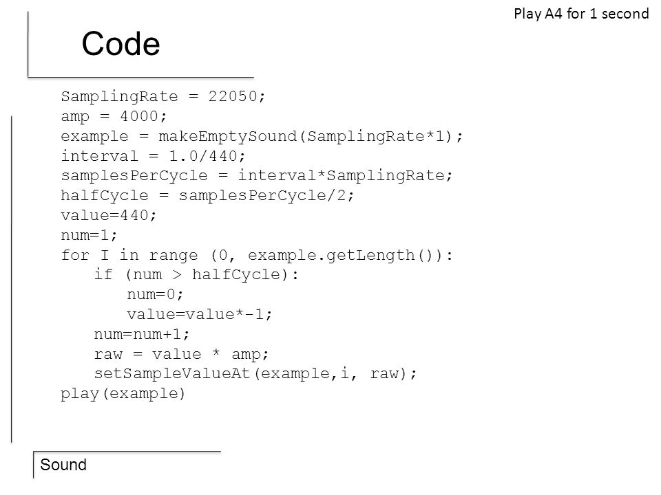 Code Play A4 for 1 second SamplingRate = 22050; amp = 4000;