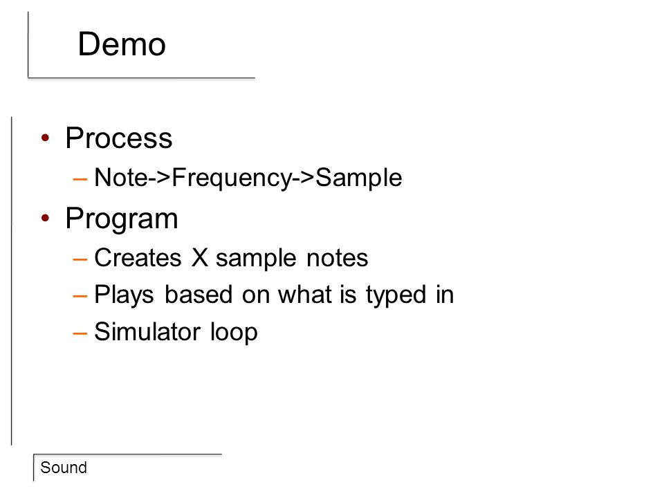 Demo Process Program Note->Frequency->Sample