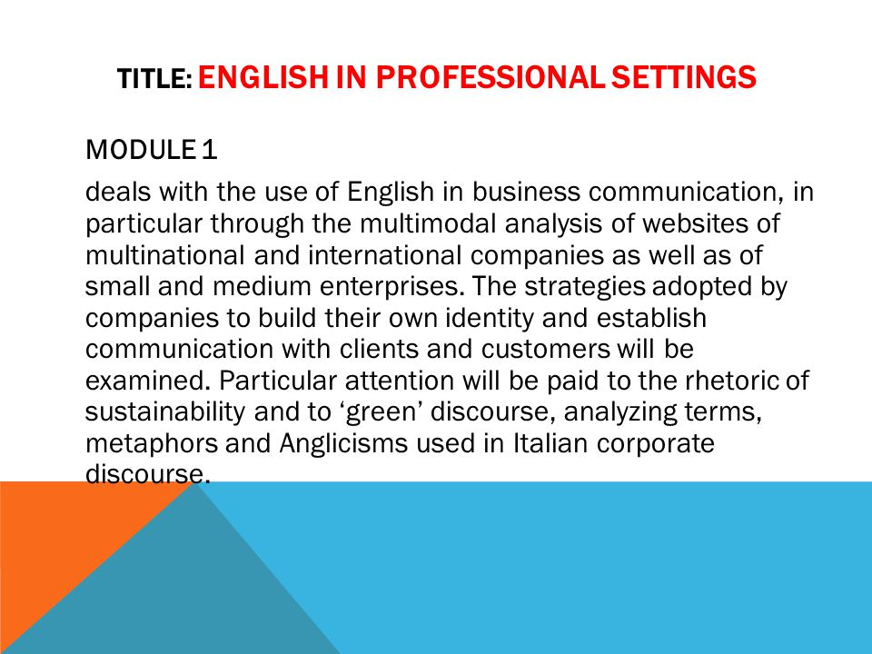 Title: ENGLISH IN PROFESSIONAL SETTINGS