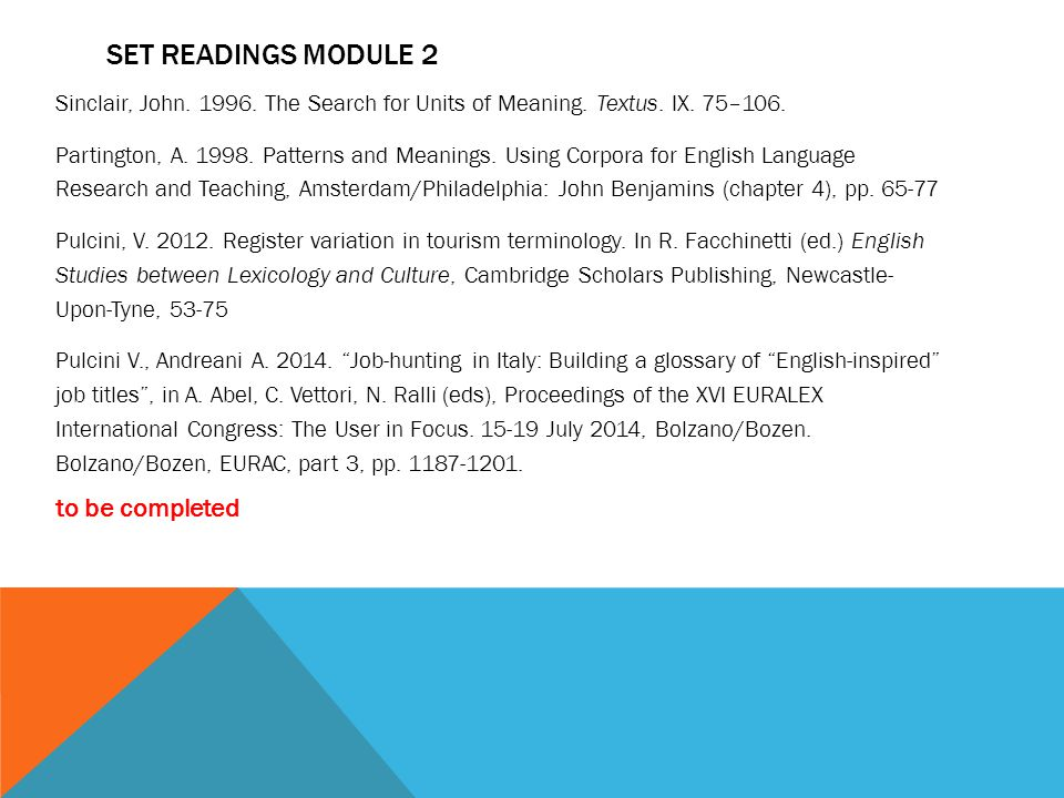 SET READINGS module 2 to be completed