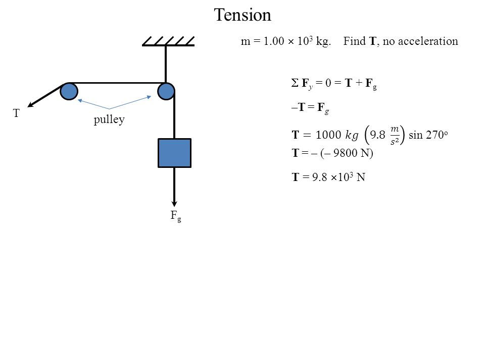 Tension m = 1.00  103 kg. Find T, no acceleration  Fy = 0 = T + Fg