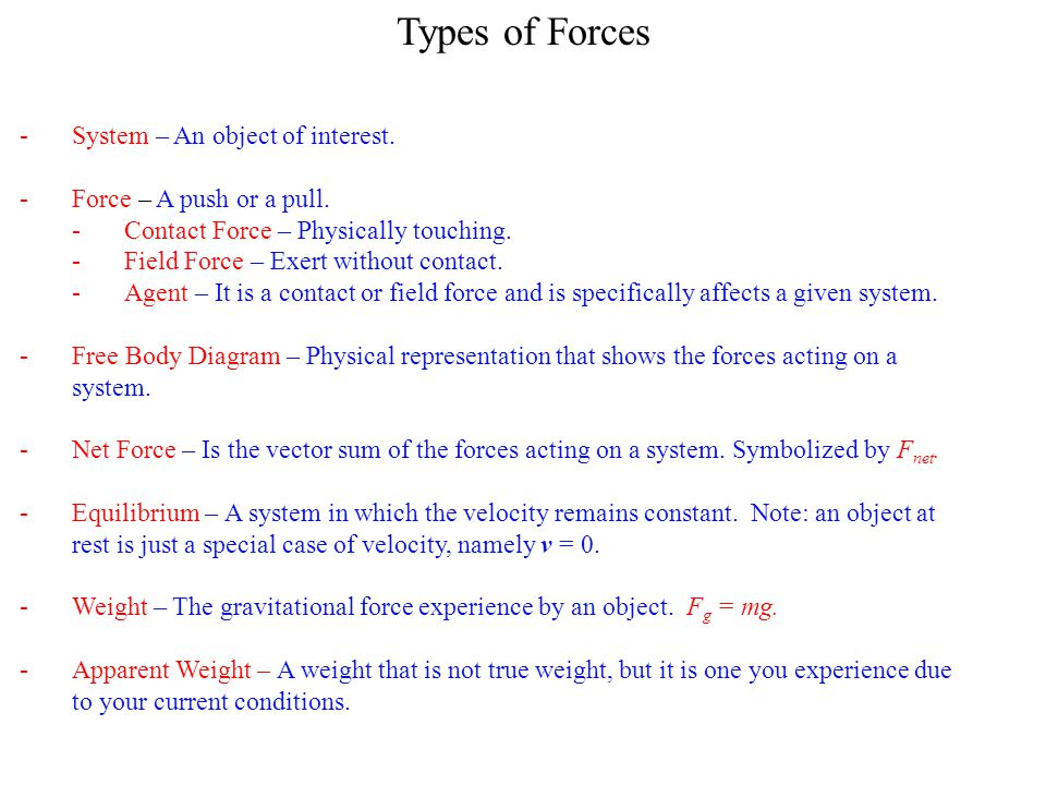 Types of Forces System – An object of interest.