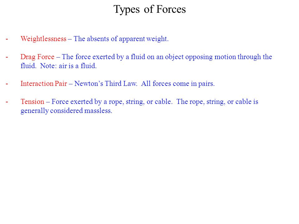 Types of Forces Weightlessness – The absents of apparent weight.
