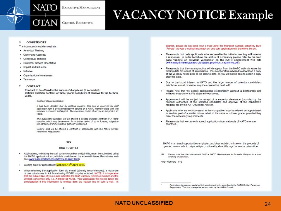 VACANCY NOTICE Example