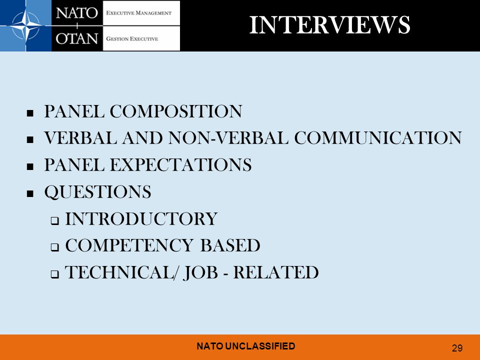 INTERVIEWS PANEL COMPOSITION VERBAL AND NON-VERBAL COMMUNICATION