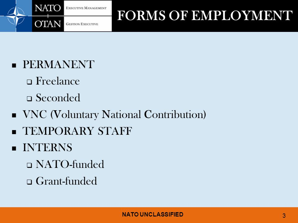FORMS OF EMPLOYMENT PERMANENT Freelance Seconded