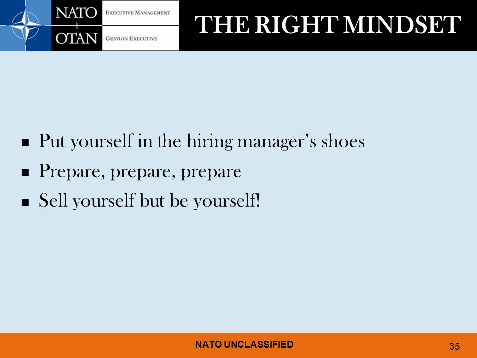 THE RIGHT MINDSET Put yourself in the hiring manager's shoes