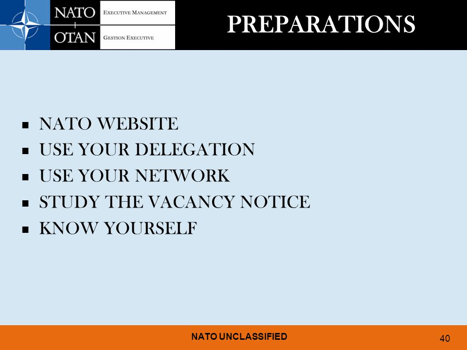 PREPARATIONS NATO WEBSITE USE YOUR DELEGATION USE YOUR NETWORK