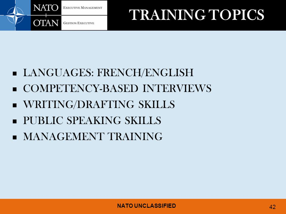TRAINING TOPICS LANGUAGES: FRENCH/ENGLISH COMPETENCY-BASED INTERVIEWS