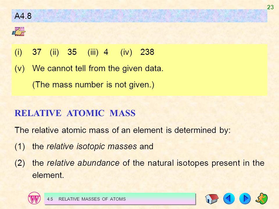 RELATIVE ATOMIC MASS A4.8 (i) 37 (ii) 35 (iii) 4 (iv) 238