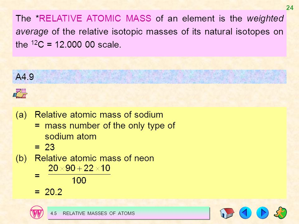 (a) Relative atomic mass of sodium = mass number of the only type of