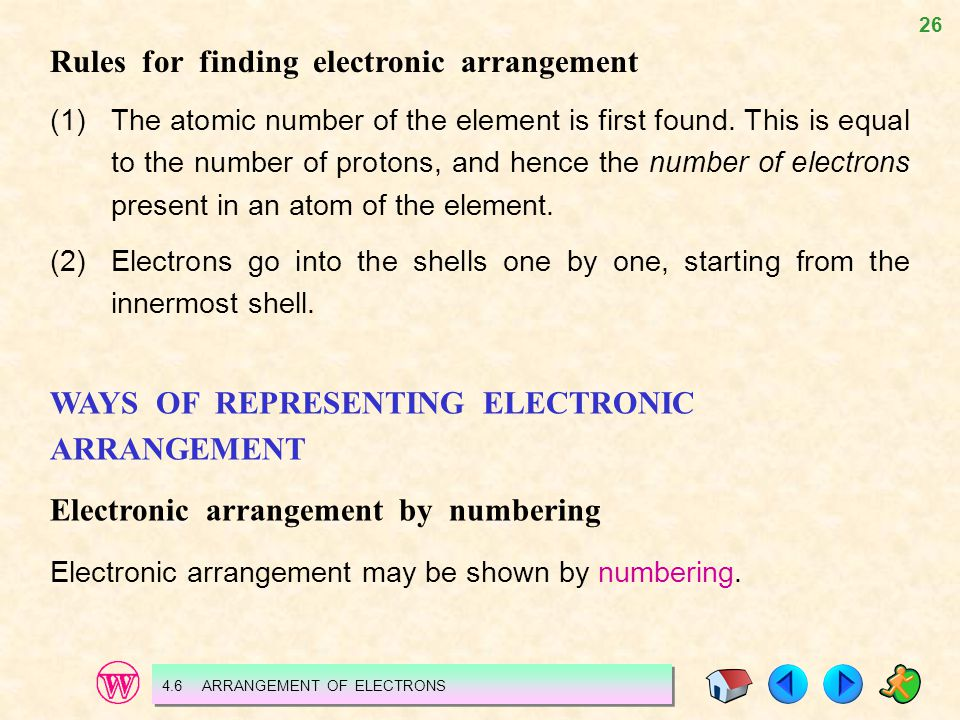 Rules for finding electronic arrangement