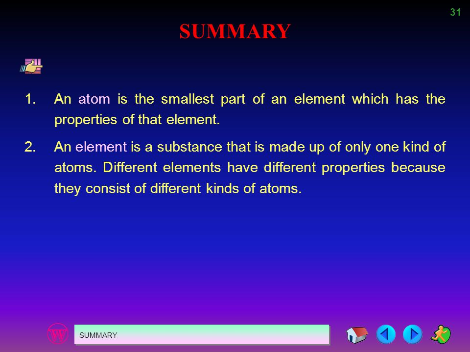 SUMMARY 1. An atom is the smallest part of an element which has the properties of that element.