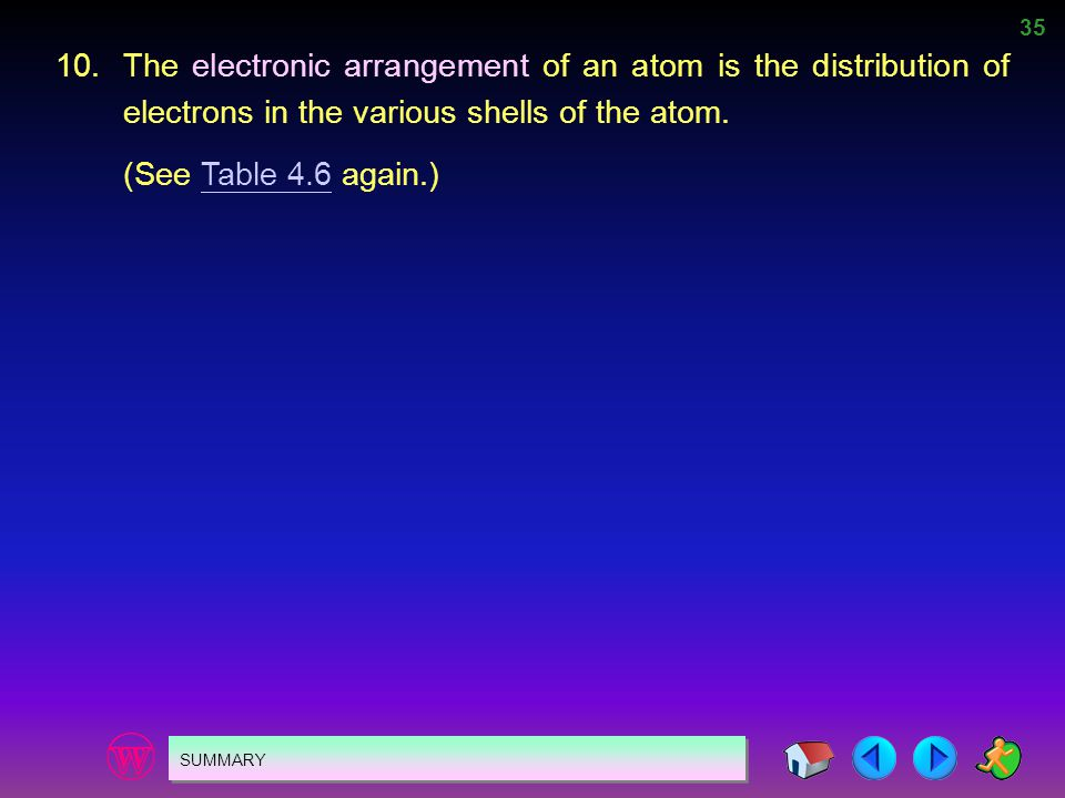 10. The electronic arrangement of an atom is the distribution of electrons in the various shells of the atom.
