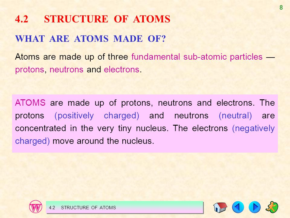 4.2 STRUCTURE OF ATOMS WHAT ARE ATOMS MADE OF