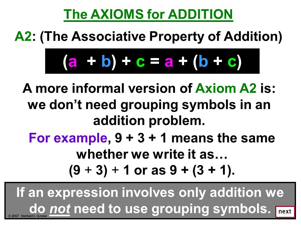 (a + b) + c = a + (b + c) The AXIOMS for ADDITION