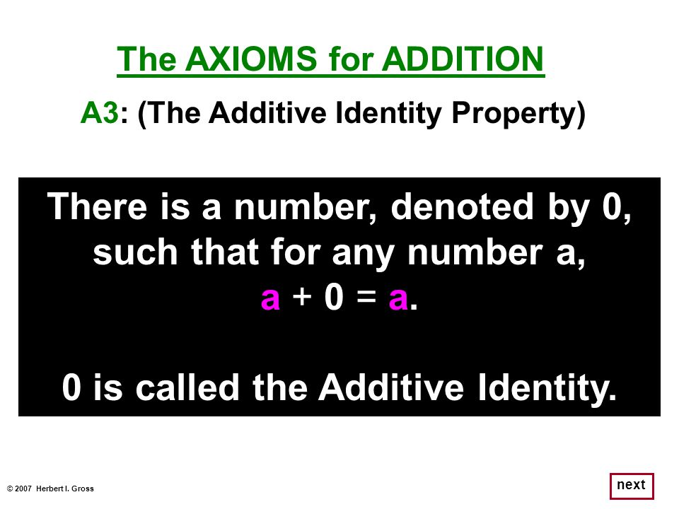There is a number, denoted by 0, such that for any number a,