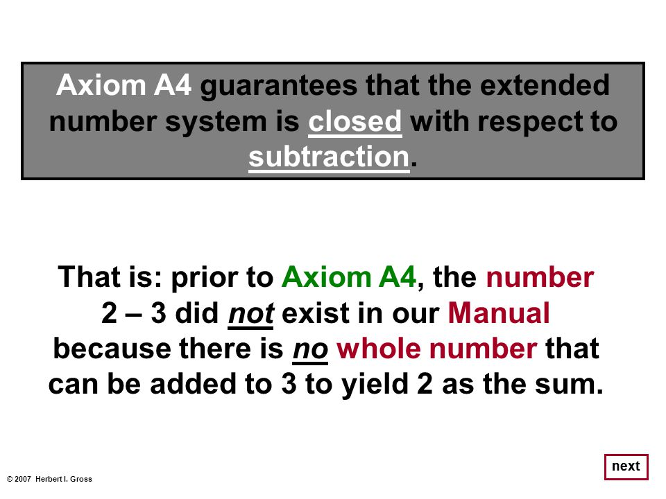 That is: prior to Axiom A4, the number