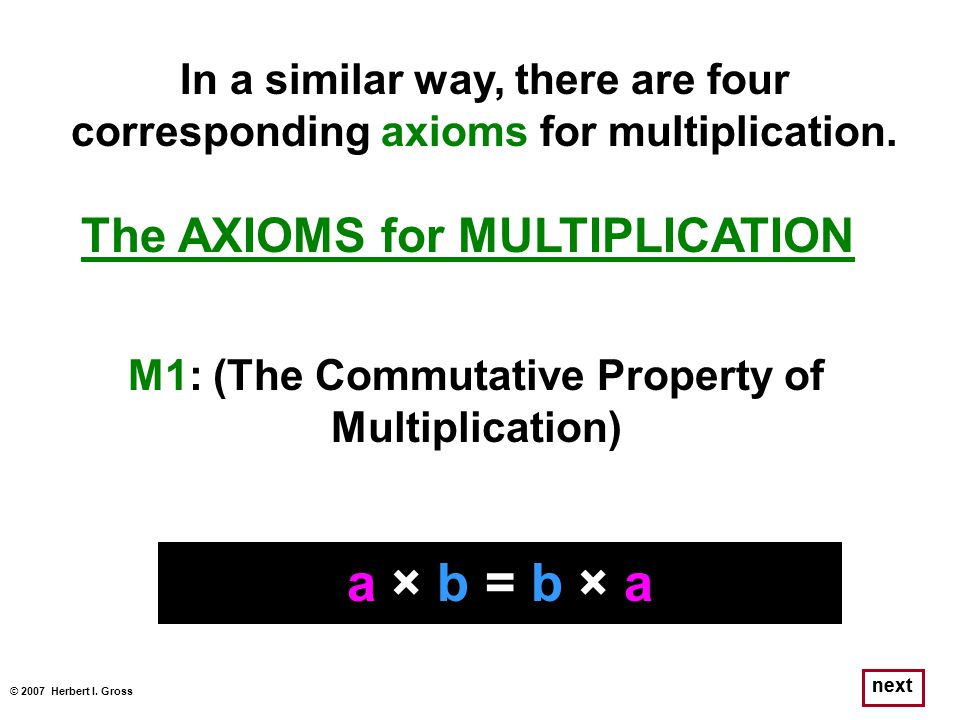 a × b = b × a The AXIOMS for MULTIPLICATION