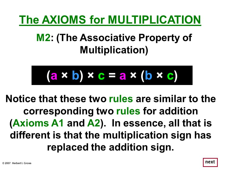 (a × b) × c = a × (b × c) The AXIOMS for MULTIPLICATION
