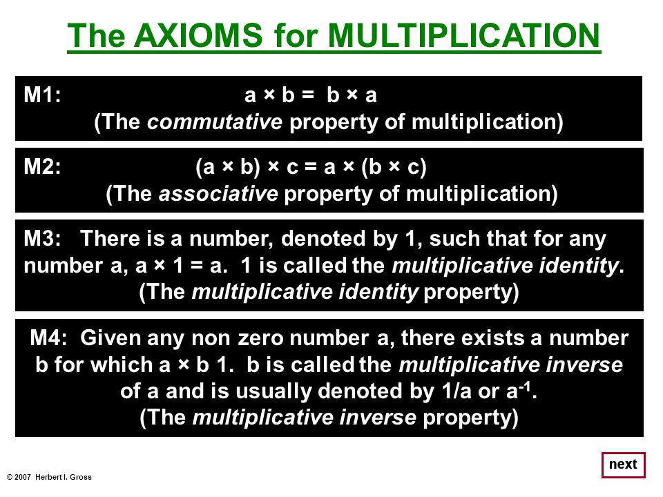 The AXIOMS for MULTIPLICATION