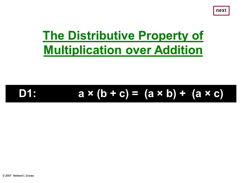 The Distributive Property of Multiplication over Addition