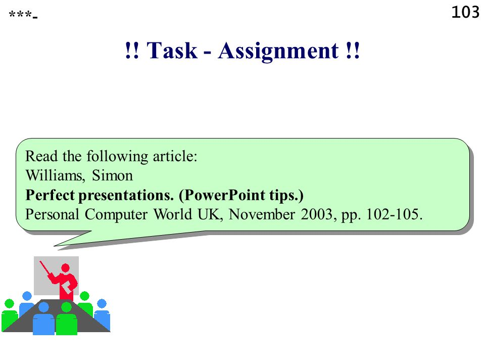 !! Task - Assignment !! 103 ***- Read the following article: