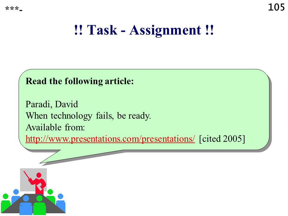 !! Task - Assignment !! 105 ***- Read the following article: