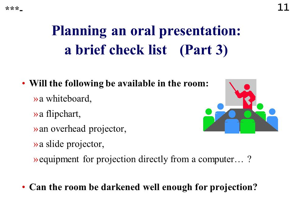 Planning an oral presentation: a brief check list (Part 3)