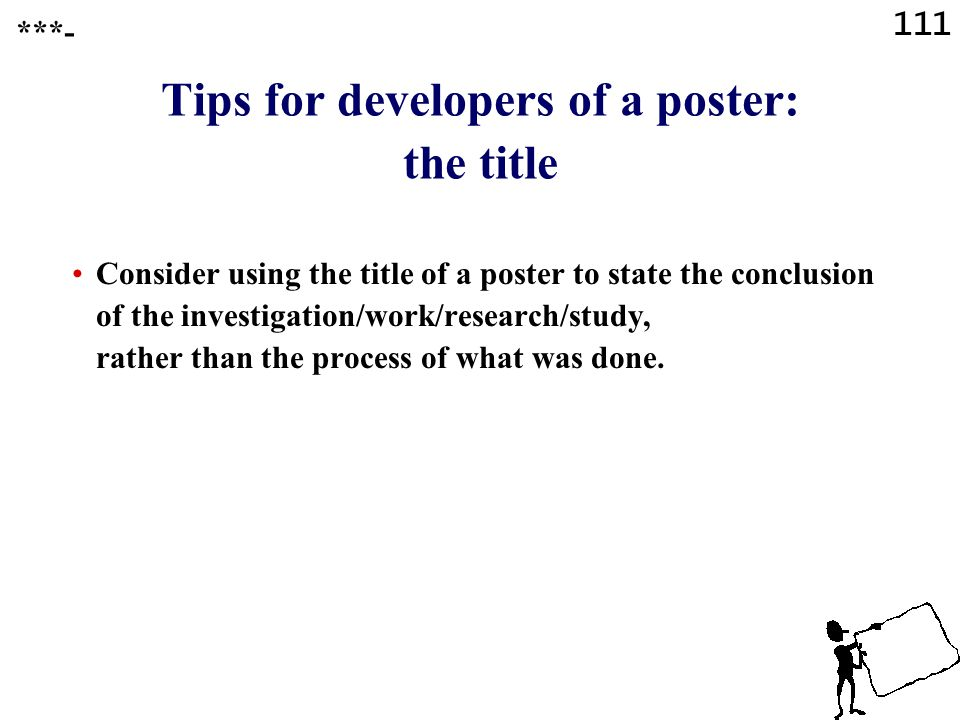 Tips for developers of a poster: the title