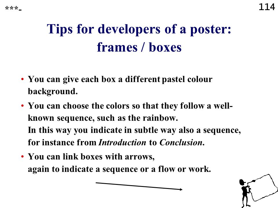Tips for developers of a poster: frames / boxes