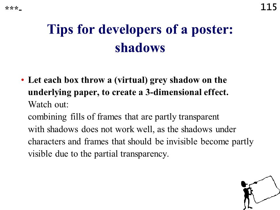 Tips for developers of a poster: shadows